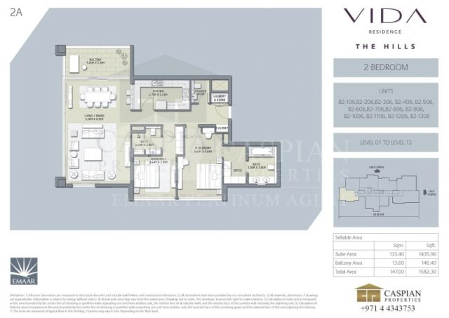 2 Bedroom Apartment For Sale In Vida Residence The Hills By Caspian Properties Brokers Llc